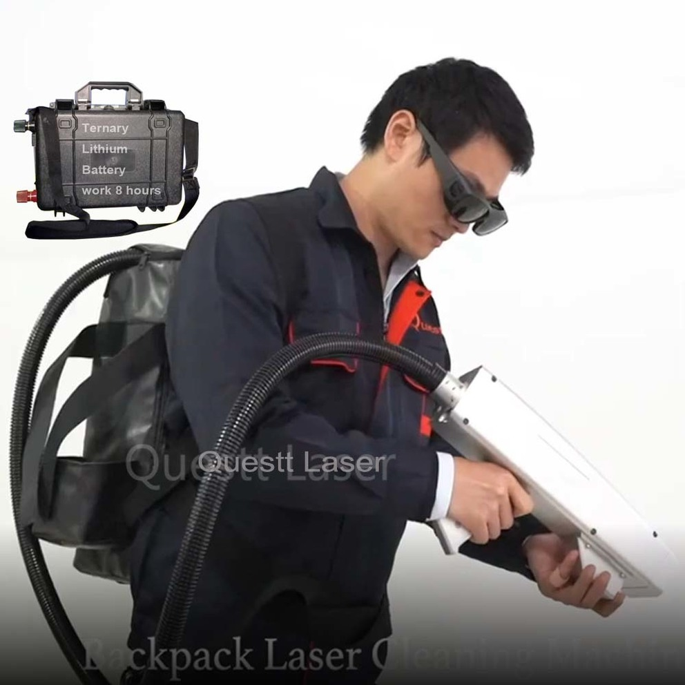 50W 100W backpack laser cleaning machine for rust paint remove